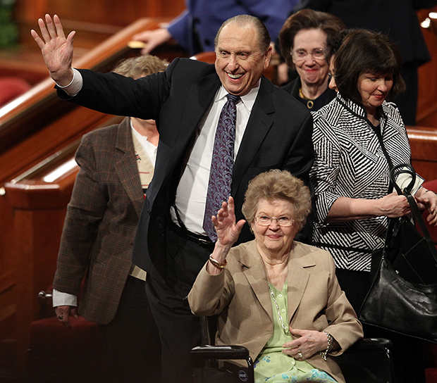 President of The Church of Jesus Christ of Latter-day Saints, Thomas S. Monson and his wife, Frances, wave to the crowd after The Church of Jesus Christ of Latter-day Saints 181st Annual General Conference on Sunday, April 3, 2011, in Salt Lake City, Utah. On Saturday, Monson announced plans to build new temples in Fort Collins, Colo., Meridian, Idaho and Winnipeg, Manitoba, Canada. The church has 134 operating temples worldwide and another 26 either under construction or planned. (AP Photo/The Deseret News, Tom Smart)